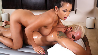 Mia LieLani gives new customer signature oil rub down fuck.