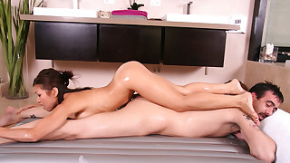 A body massage with a wet hot pussy make his dick very hard