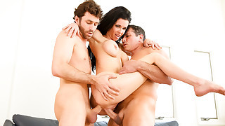 Veronica Avluv engulfs two cocks with all her..