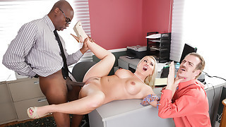 Blonde MILF takes out her frustrations on hubby's boss