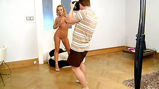 SIlvia Saint poses in many positions for a..