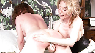 Victorian style sex scene with blonde mature and brunette