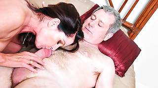 Sexy Milf gets wet and jumps on his hard cock to..