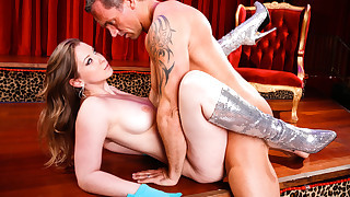 Sunny Lane goes crazy wild on Marcus' cock while stripping