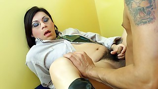 Asian tranny slut gets fucked in the ass hard in the office!