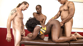 Busty ebony cheerleader gets banged by three horny guys