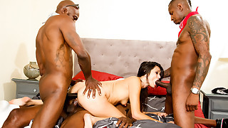 Black guy and his cousins gangbang the nasty..