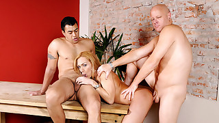 2 men share a blonde ladyboy who likes to do... everything!