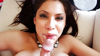 Sexy Latina Aleksa Nicole takes a huge load on..