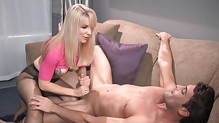 Smoking hot babe Ashley Fires is doing handjob..