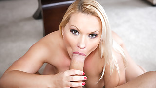 Attractive blonde Cougar German is sucking big..