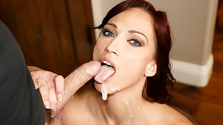 Redhead slut Nicki is swallowing his sweet sperm