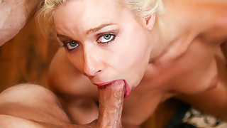 Daring whore Anika Allbrite is giving blowjob indoors